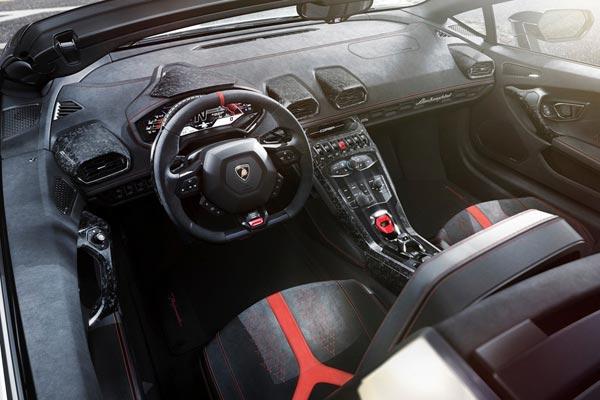 Интерьер салона Lamborghini Huracan Perfomante Spyder