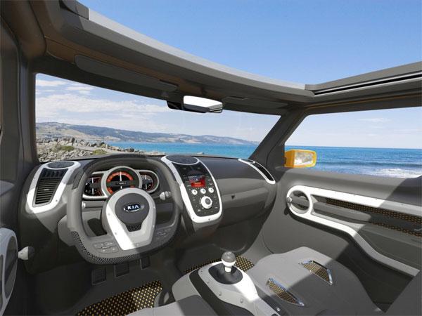 Интерьер прототипа Kia оформлен весело и практично.