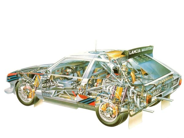 Центральномоторный полноприводный ралли-«болид» Lancia Delta S4 (середина 80-х). Монстр.