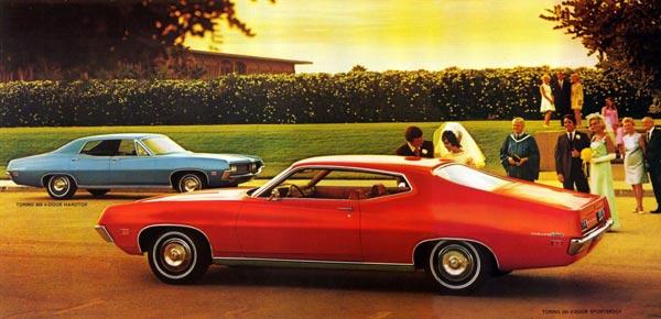 Удлиненный капот, укороченный задний свес. Низко посаженные 2- и 4-дверные «хардтопы» Torino 1971 выглядели элегантно и динамично.