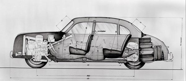 «Классическая» архитектура «биммера» 500-й серии: КПП еще отделена от двигателя и размещена под передними сиденьями. Позже коробку передач состыковали с V-образной «восьмеркой» - как у всех.