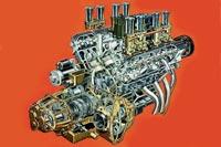 На редкость компактный силовой агрегат – с 5-ступенчатой КПП, смонтированной соосно с коленчатым валом «восьмерки».