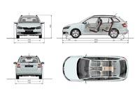 Основные размеры Skoda Fabia Combi третьего поколения